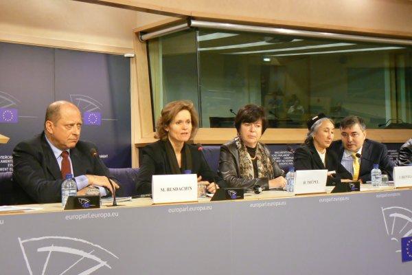 ラビア・カーディル総裁が、欧州議会内で開催された「絶滅の危機にひんしてい るシルクロードのオアシス都市カシュガル」と題する国際会議にて